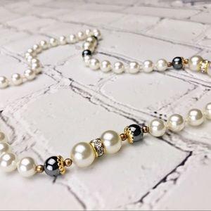 Vintage Faux Pearl, Hematite & Pave Necklace